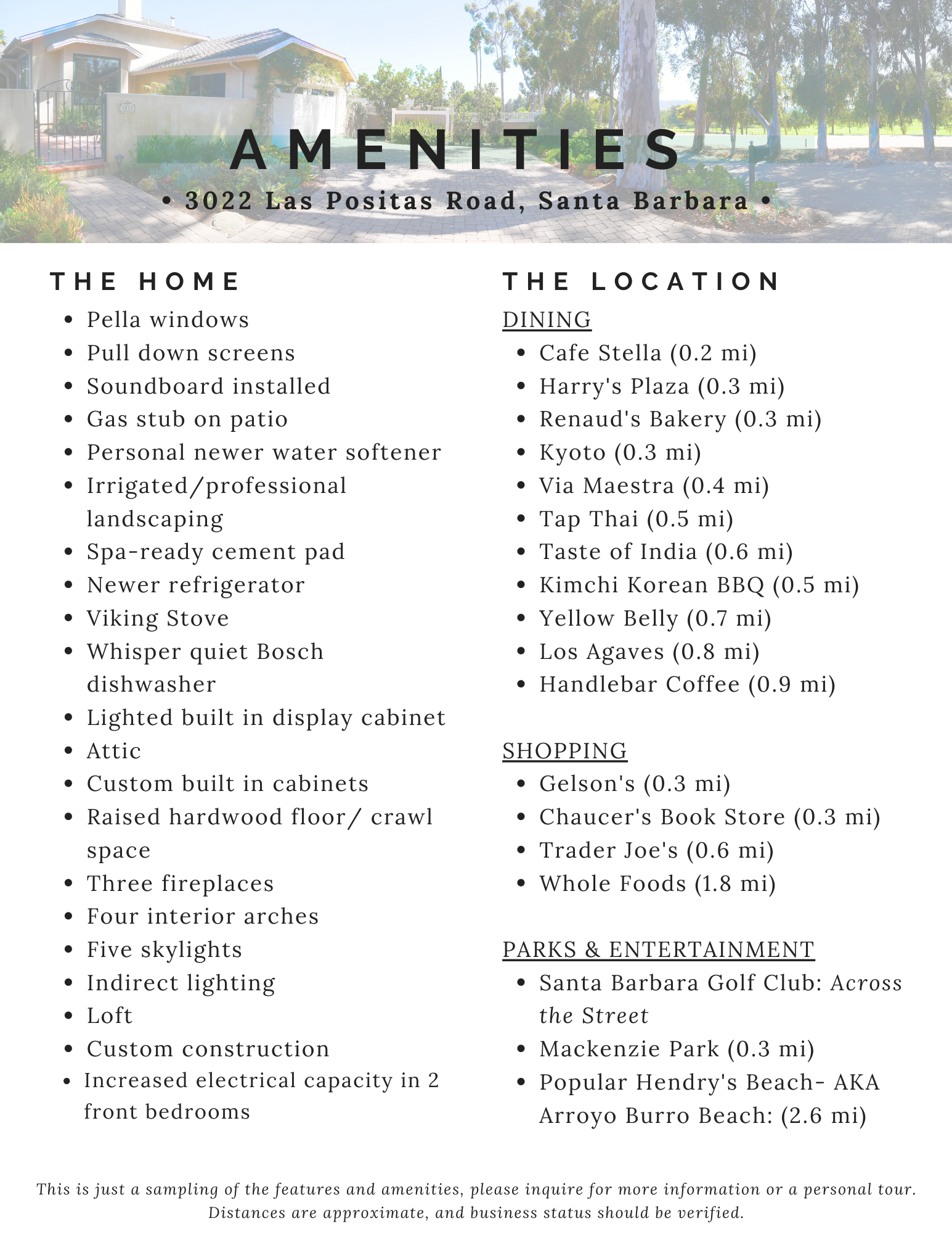 List of Home & Area Amenities